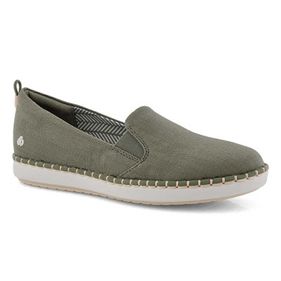 Lds Step Glow Slip olive casual loafer