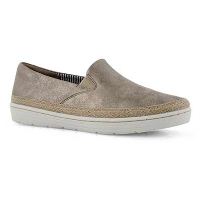 Lds Marie Pearl pewter suede casual shoe