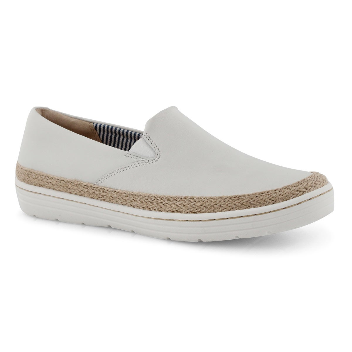 Lds Marie Pearl white lthr casual shoe