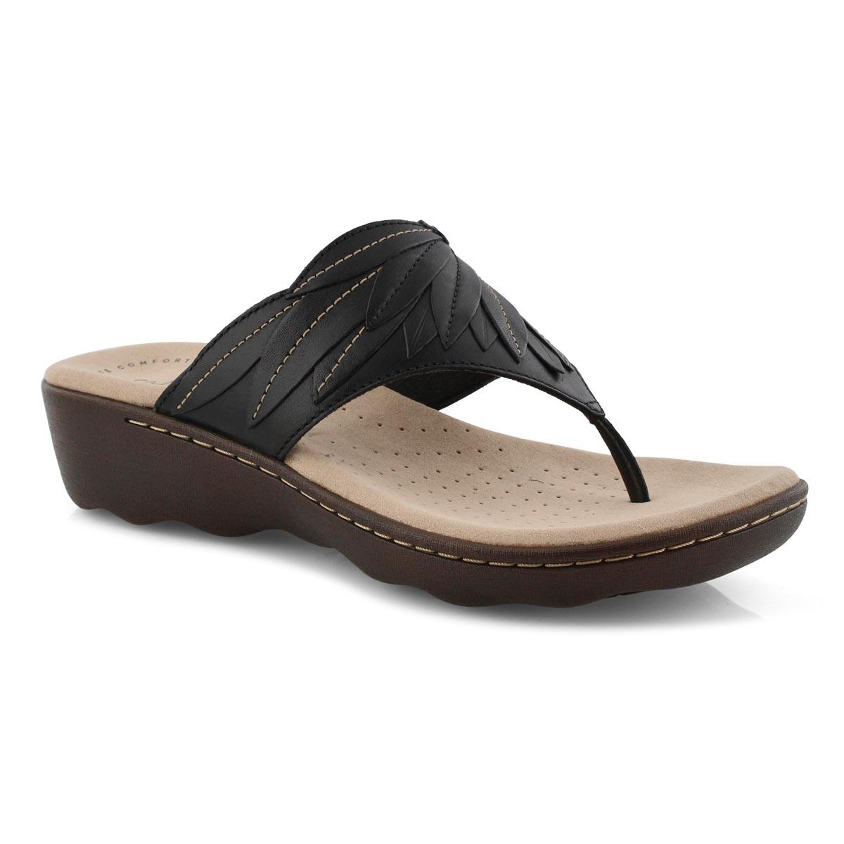 Lds Phebe Pearl black wedge thong sndl