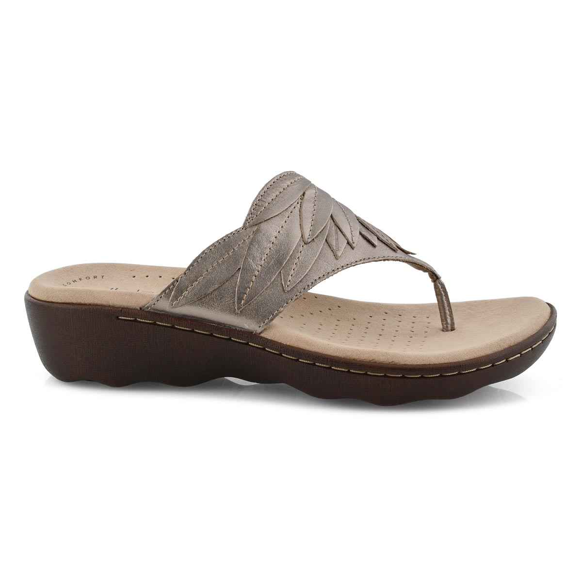 Lds Phebe Pearl pewter wedge thong sndl