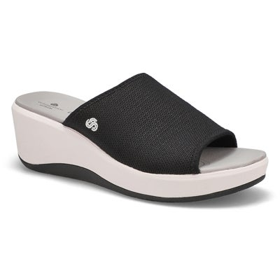 Lds Step Cali Bay blk wedge slide sandal