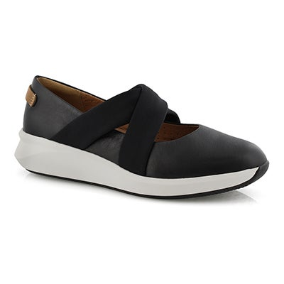 Lds Un Rio Cross blk lthr casual shoe
