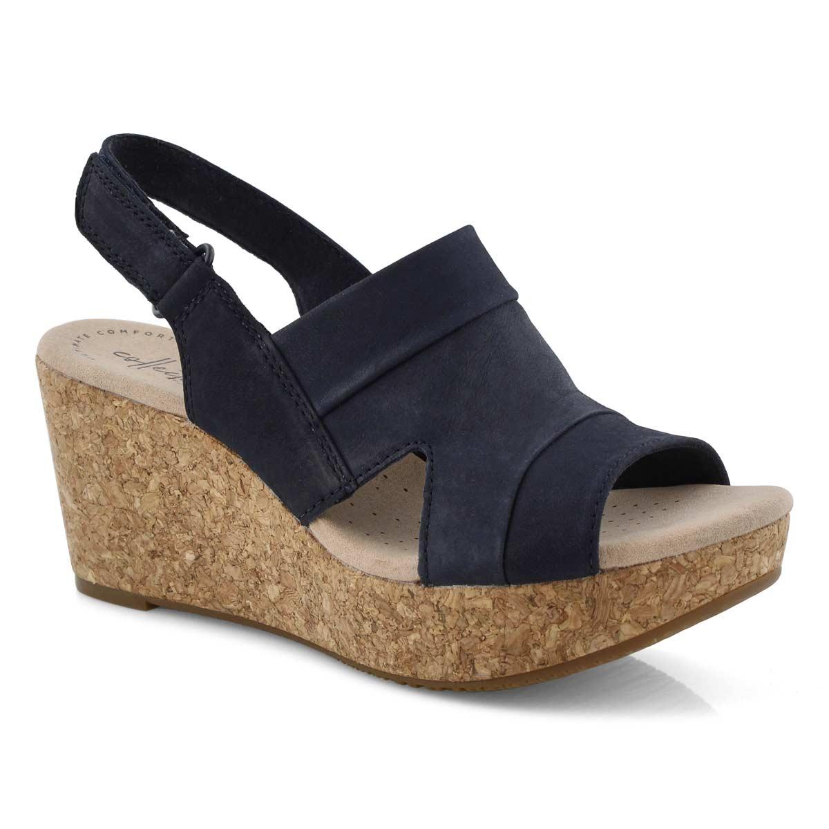 Lds Annadel Ivory navy wedge sandal