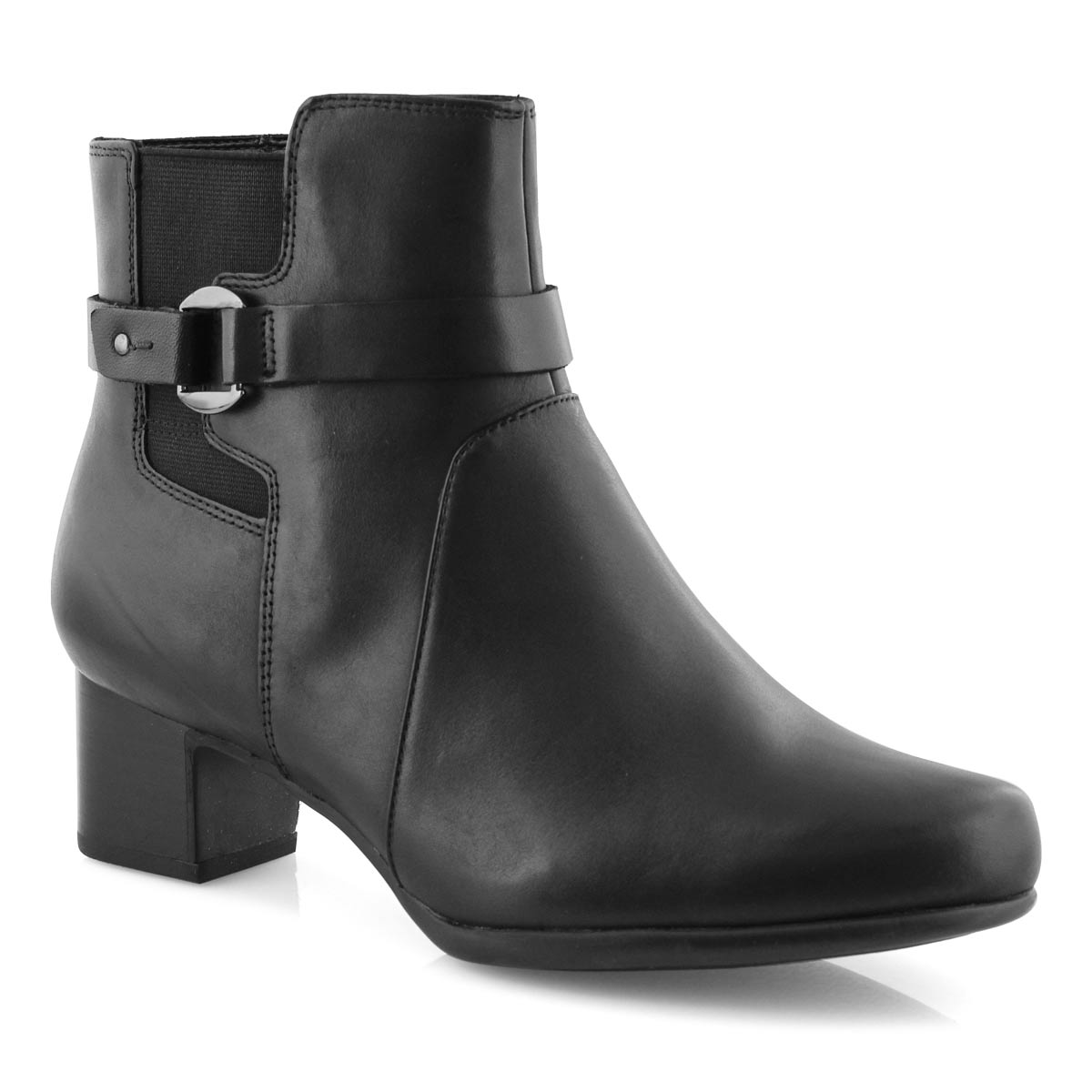 Lds Un Damson Mid blk wp ankle boot-wide