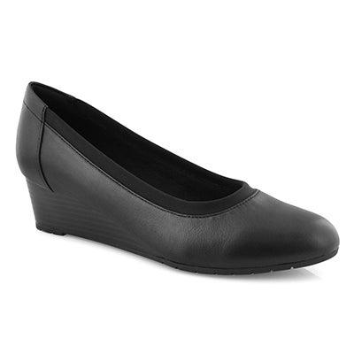 Lds Mallory Berry blk lthr dress wedge