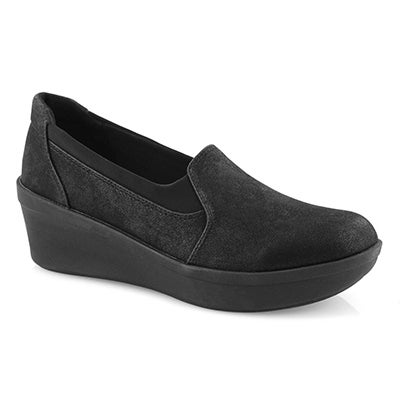 Lds Step Rose Moon black slip on shoe