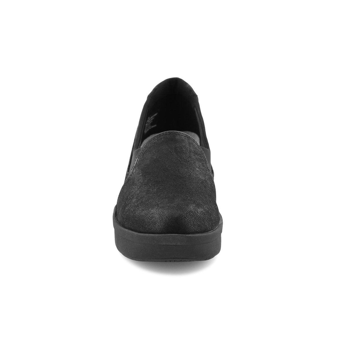 Lds Step Rose Moon black slip on shoe