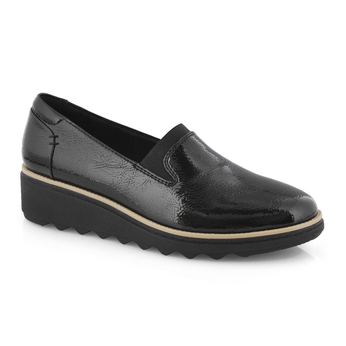 Lds Sharon Dolly black pat casual loafer