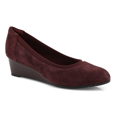 Lds Mallory Berry burgundy dress wedge