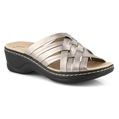 Lds Lexi Salina pewter slides -wide