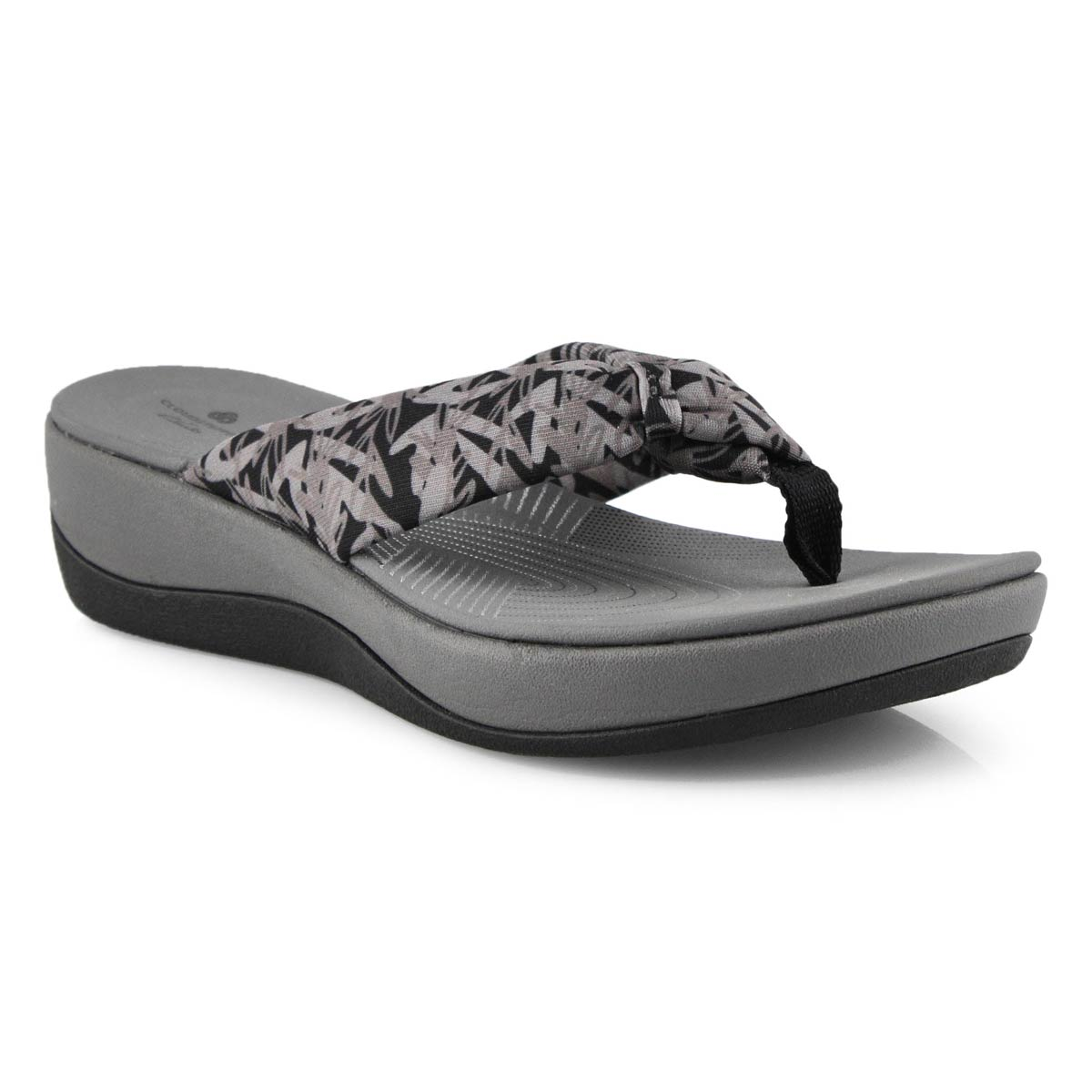 Lds Arla Glison floral bk/gry wedge sndl