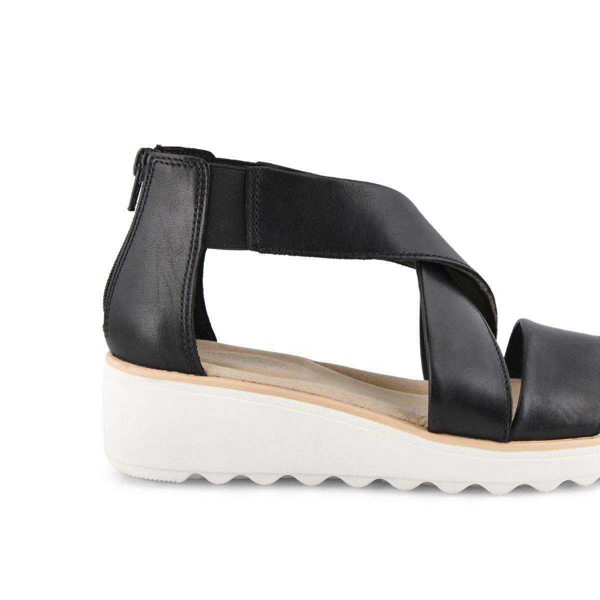 Lds Jillian Rise black wedge sandal