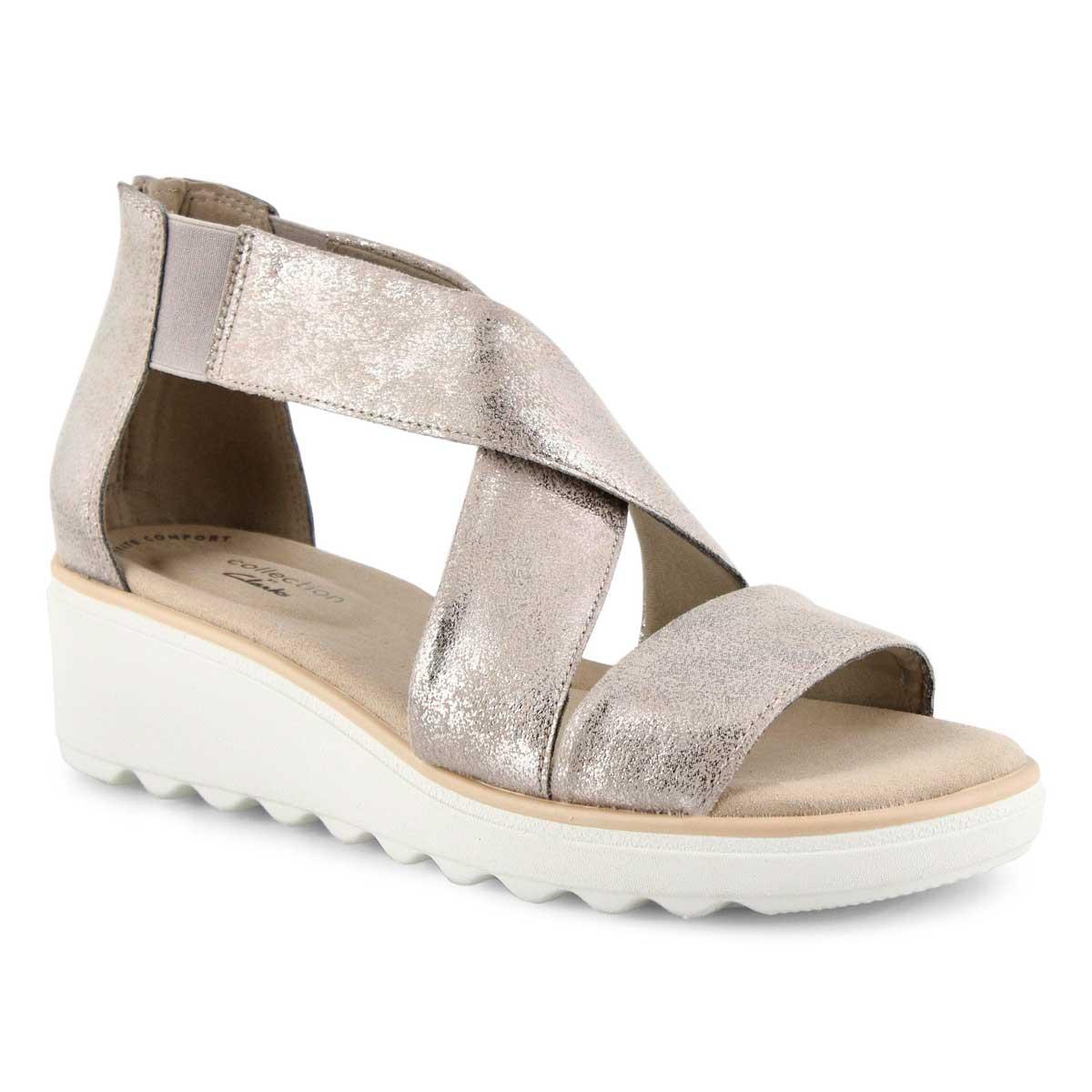 Lds Jillian Rise pewter wedge sandal