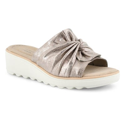 Lds Jillian Leap pewter wedge sandal