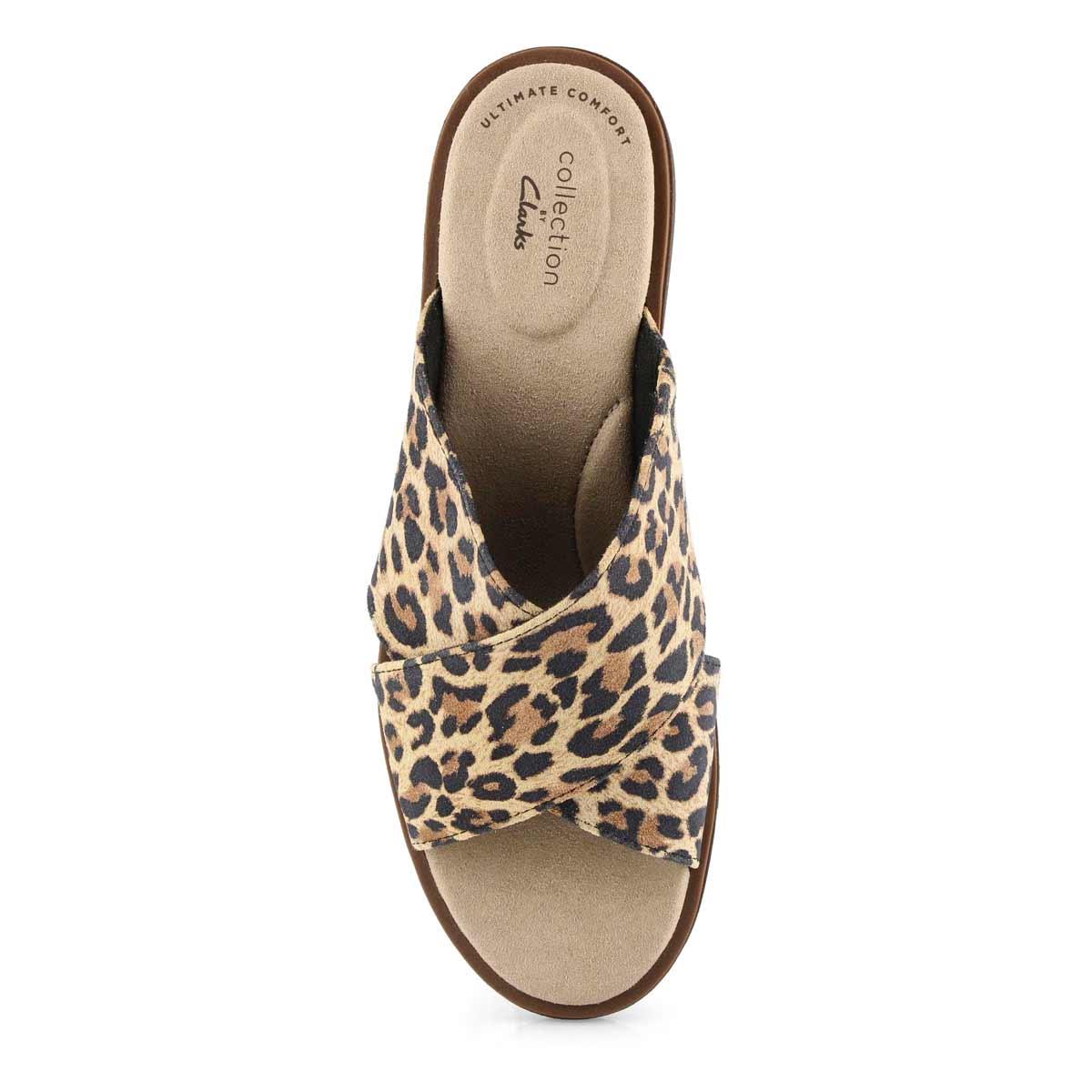 Lds Declan Ivy tan leopard slide sandals
