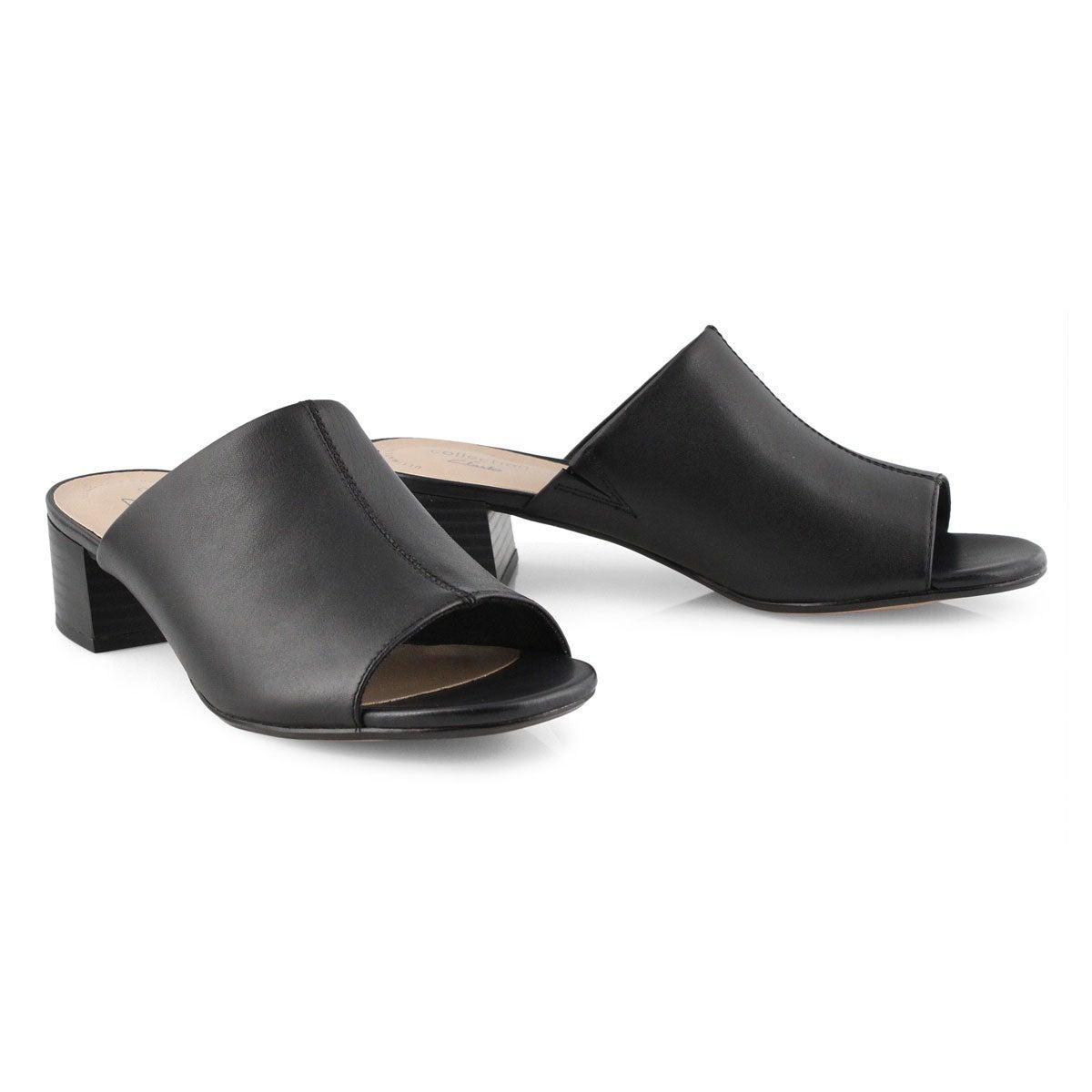 Lds Elisa Rose black dress slide sandal