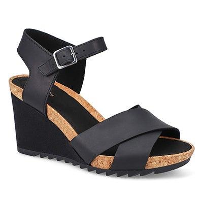 Lds Flex Sun black wedge sandal