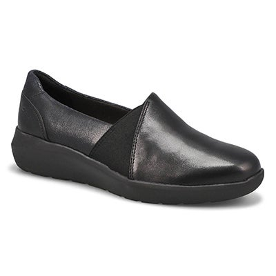 Lds Kayleigh Step blk suede slip on shoe