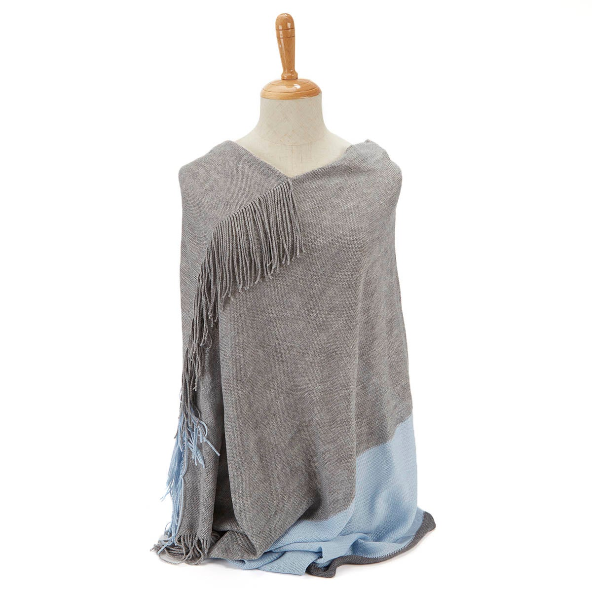 Lds Raschel gry/blue loop and poncho