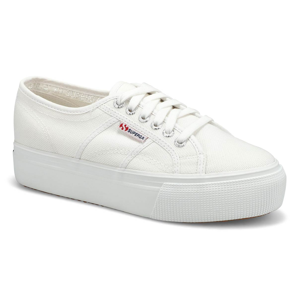 Lds Platform white canvas sneaker