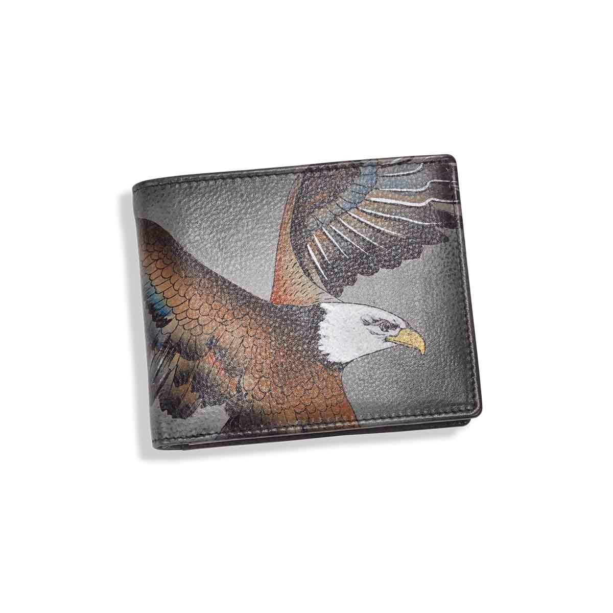 Mns painted lthr American Eagle wallet