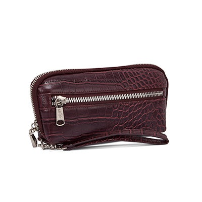 Co-Lab Women's 3001 wine croc print wristlet wallet