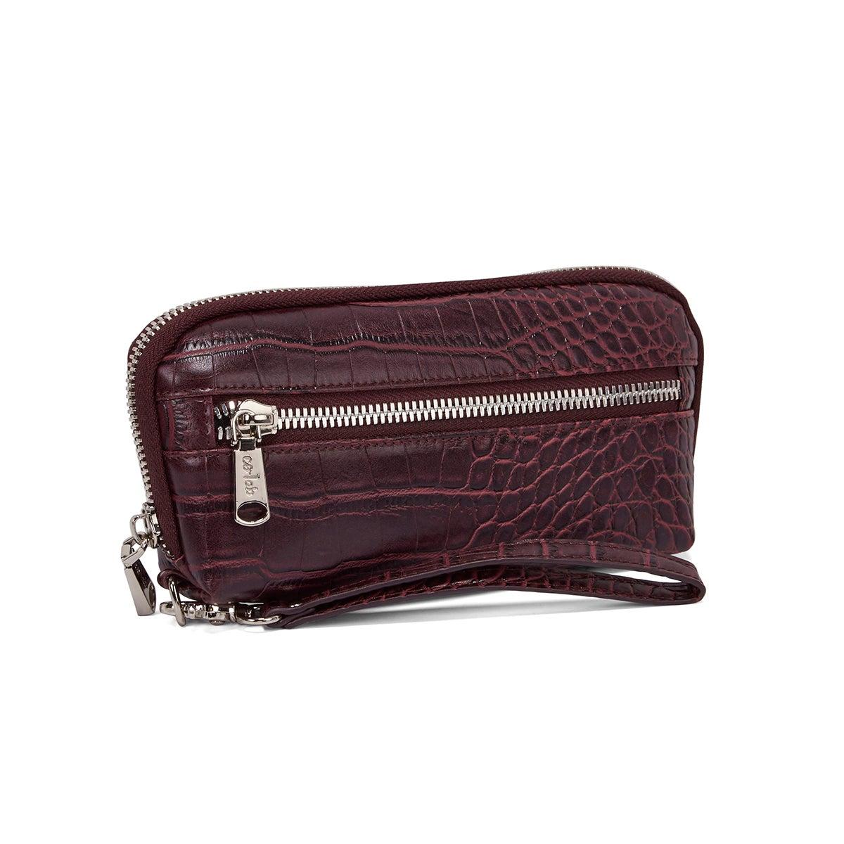 Lds wine croco print wristlet wallet