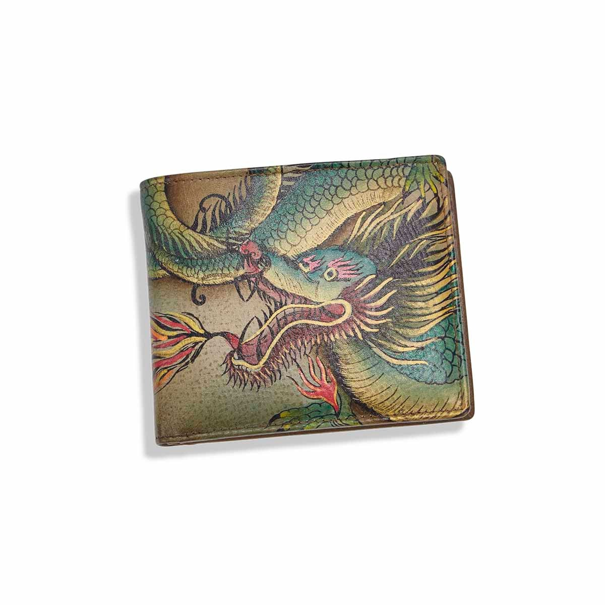 Mns painted lthr Hidden Dragon wallet