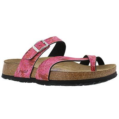 Lds Tabora SF tropical leaf pink sandal