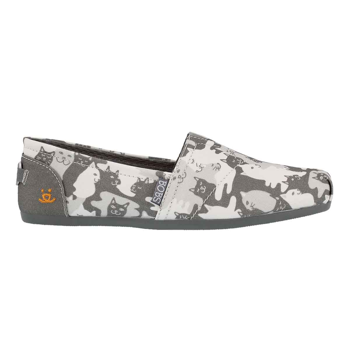 Lds Bobs Plush Cat-Mouflage gry slip on