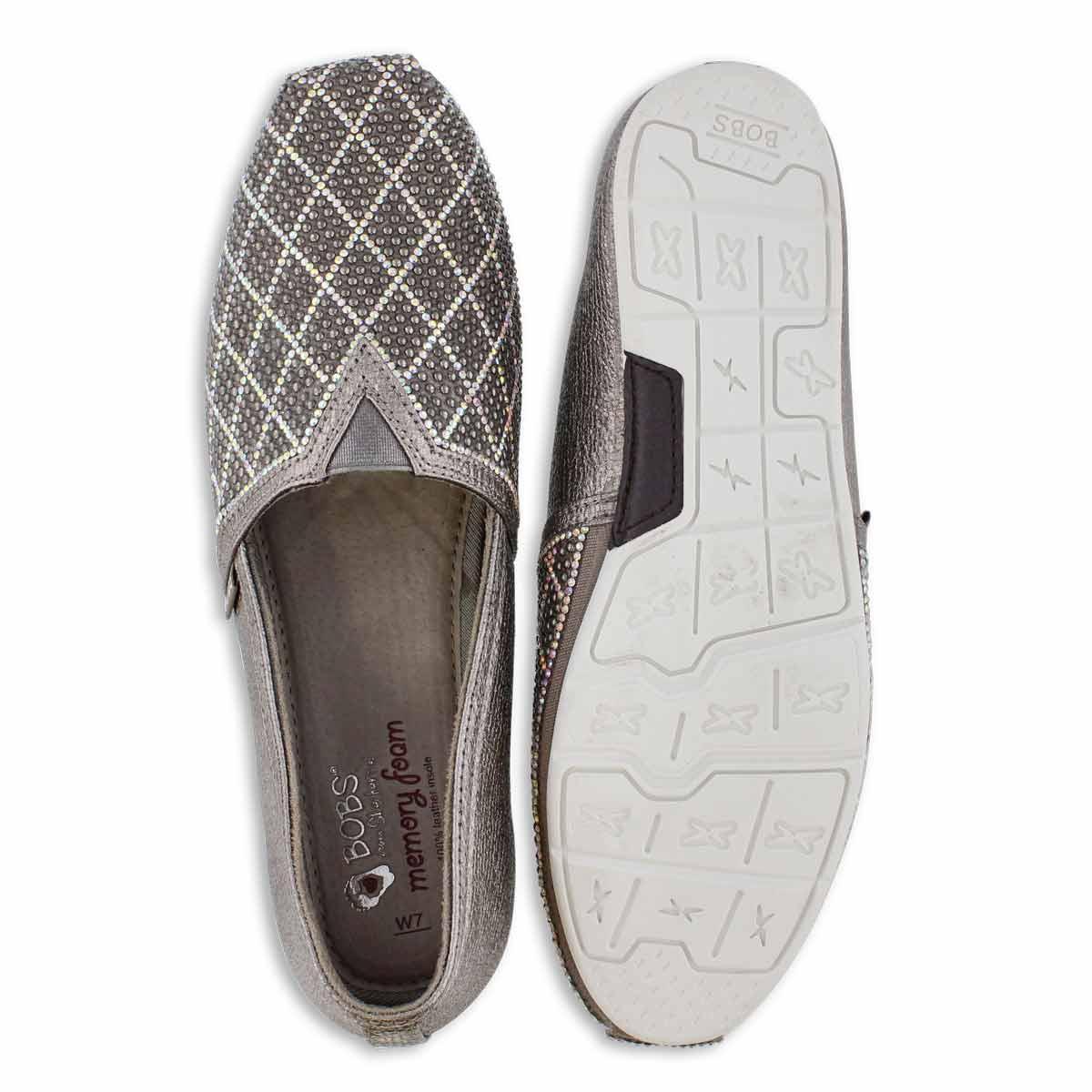 Lds Bobs Luxe Elite pewter slip on shoe