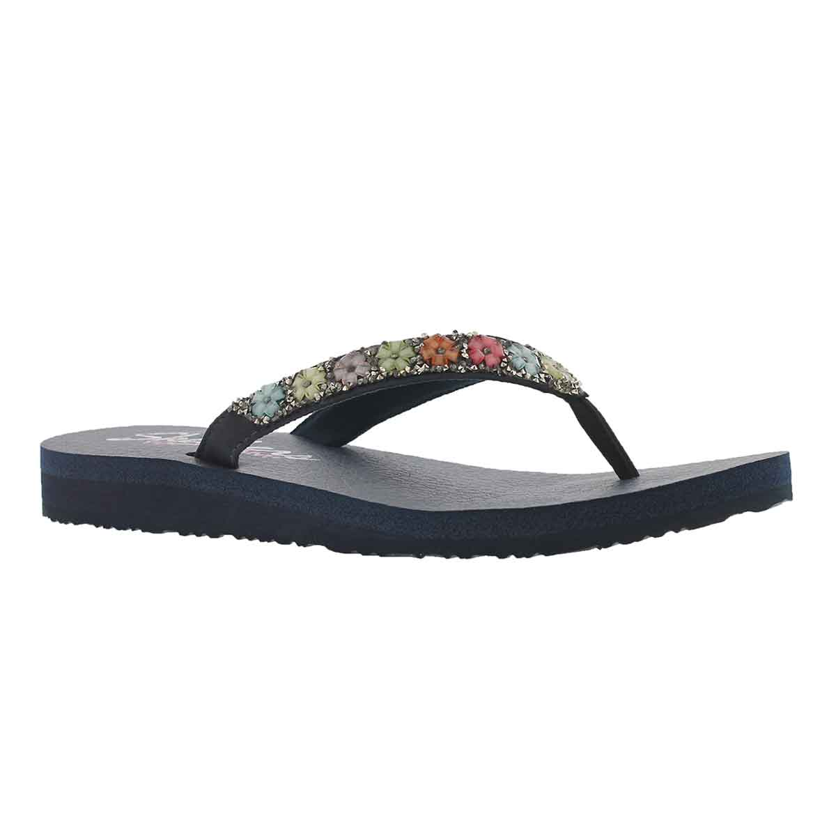 Women's MEDITATION DAISY DELIGHT navy flip flops