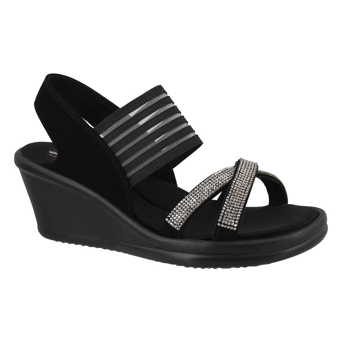 Lds Rumblers black rhinestone wdg sandal