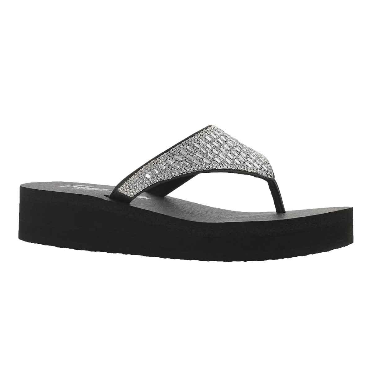 Women's VINYASA black/silver rhinestone flip flops