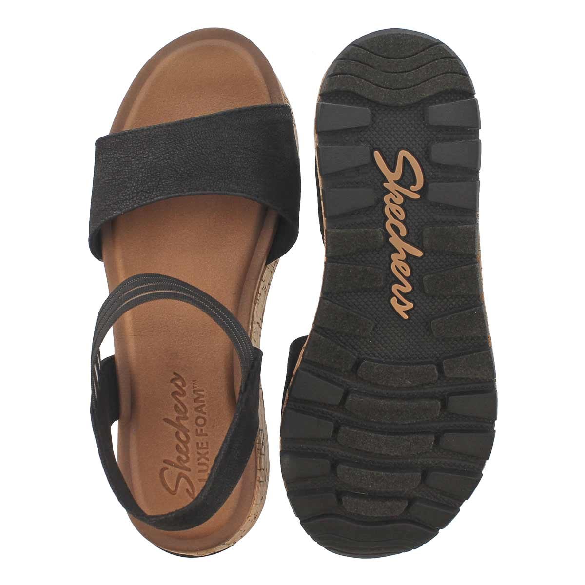 Lds Footstep Markers blk wedge sandal