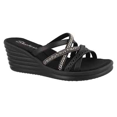 Lds Rumblers Wave blk wedge sandal