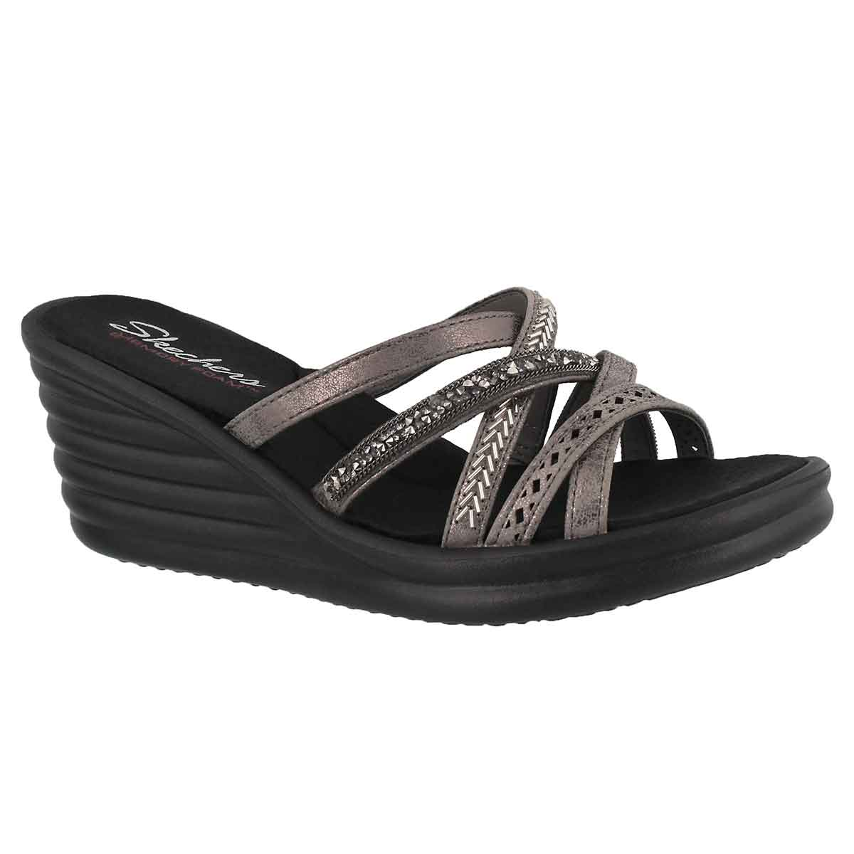 Women's RUMBLERS WAVE pewter wedge sandals