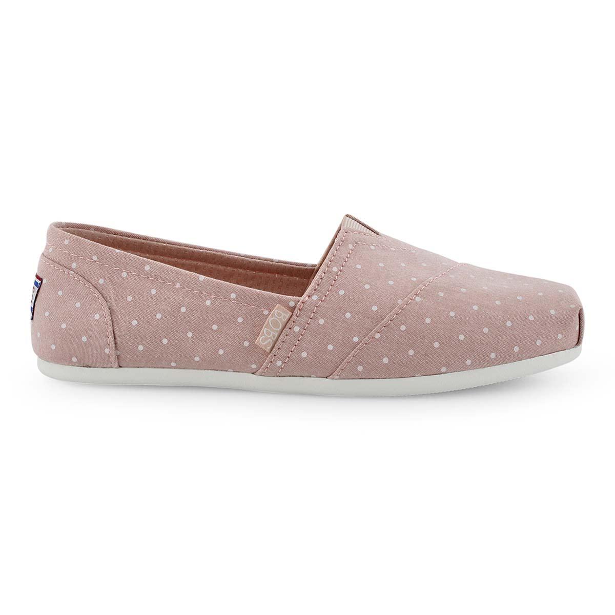 Lds Bobs Plush Hot Spot pink dot slip on