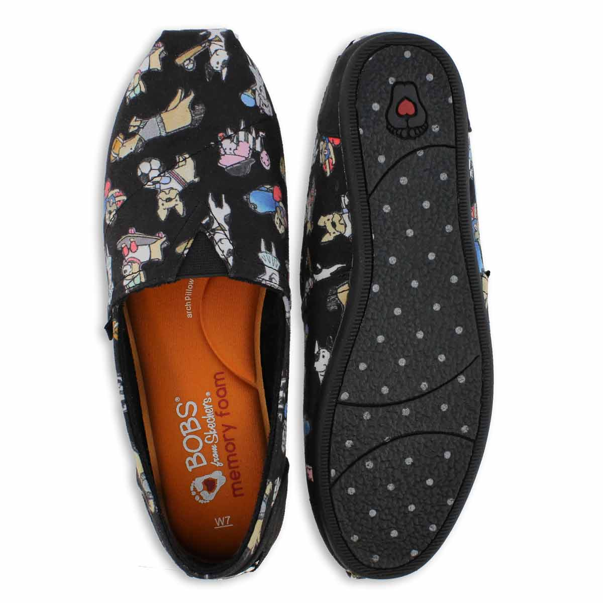 Lds Bobs Plush Go Fetch blk slip on