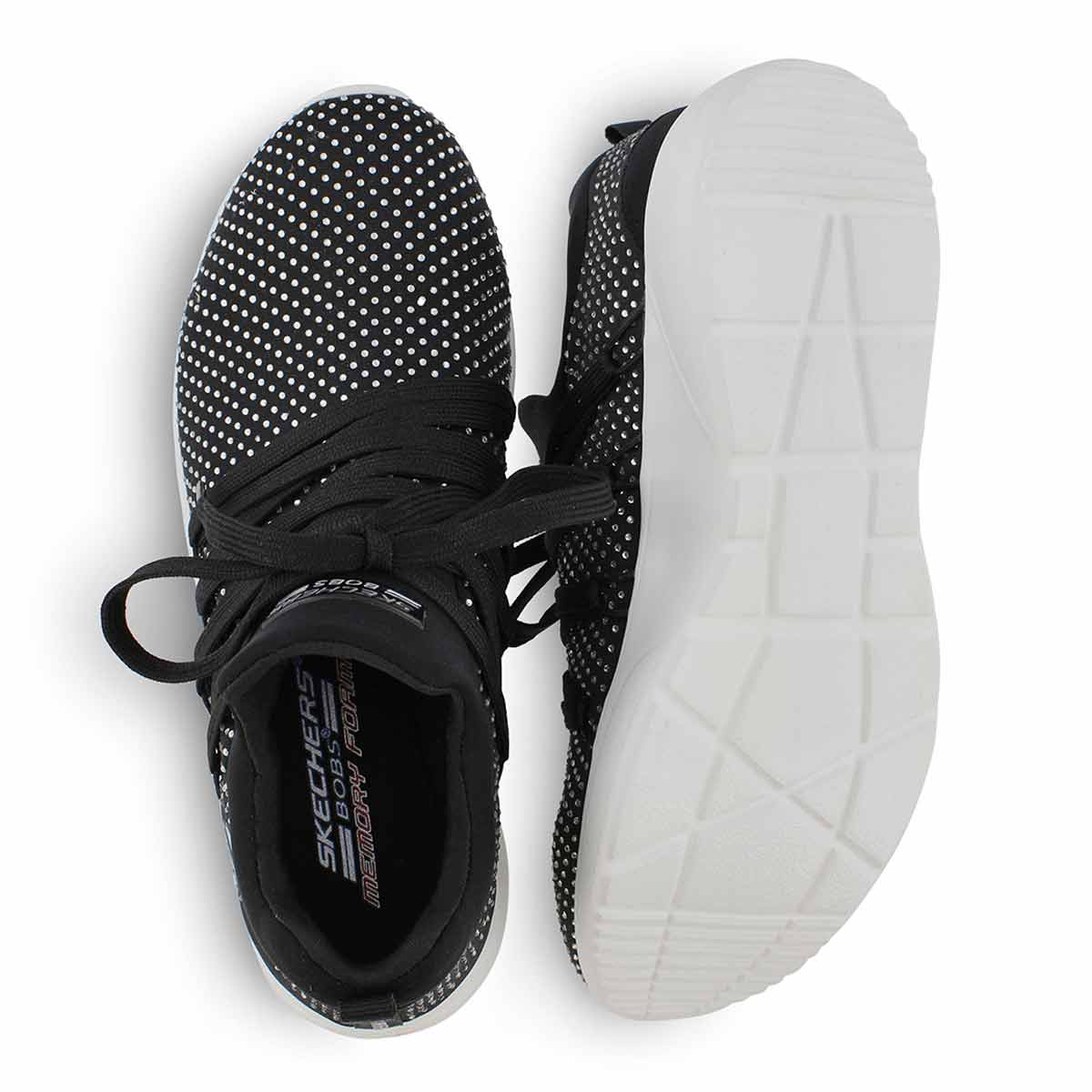 Lds Bobs Sparrow blk lace up snkr