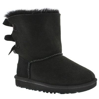 UGG Australia Girls' BAILEY BOW black sheepskin boots