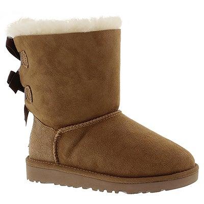 UGG Australia Girls' BAILEY BOW chestnut sheepskin boots