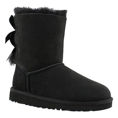 UGG Australia Girls' BAILEY BOW black sheepskin boots