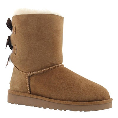 UGG Australia Girls' BAILEY BOW chestnut sheepskin boots