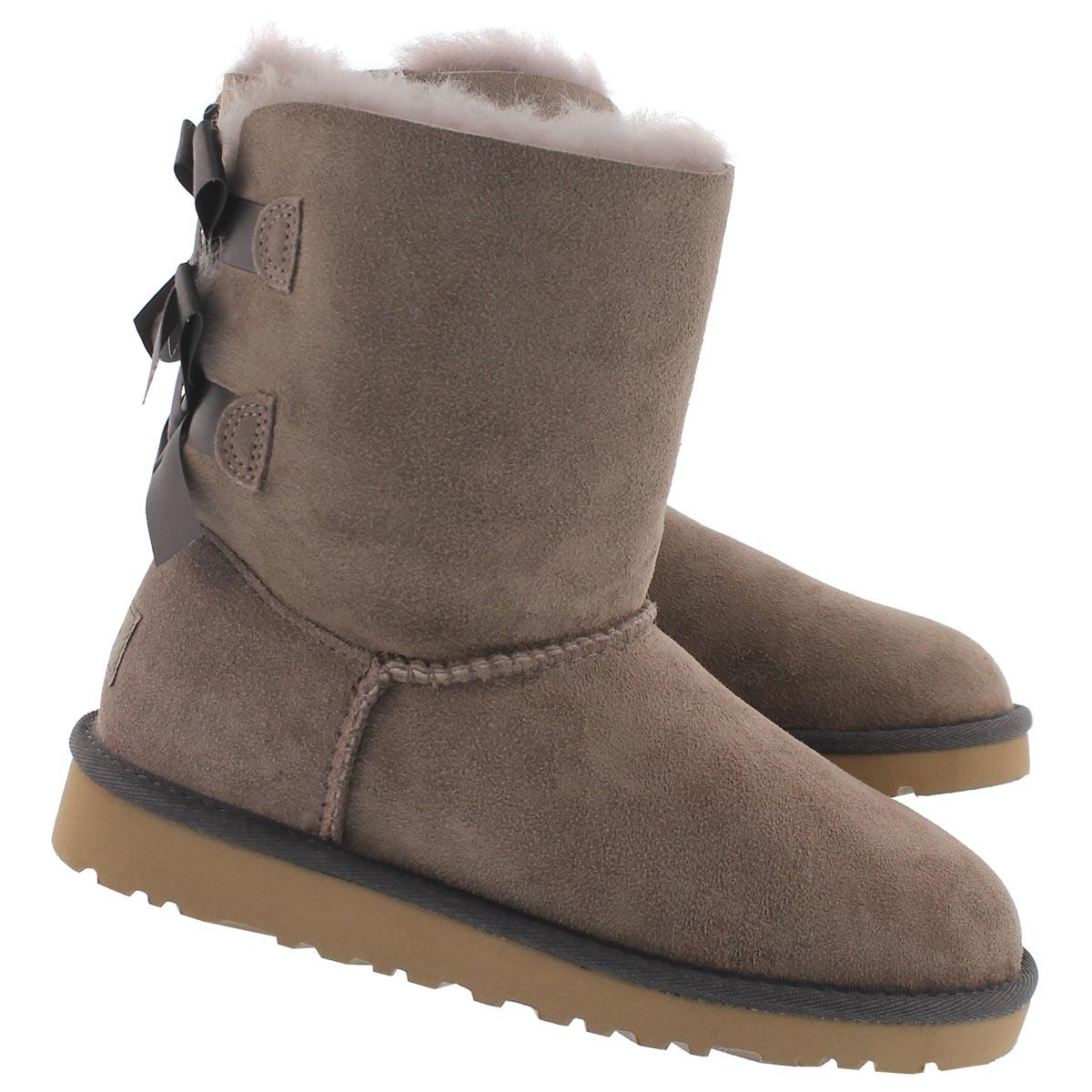 Grls BaileyBow stormy gry sheepskin boot