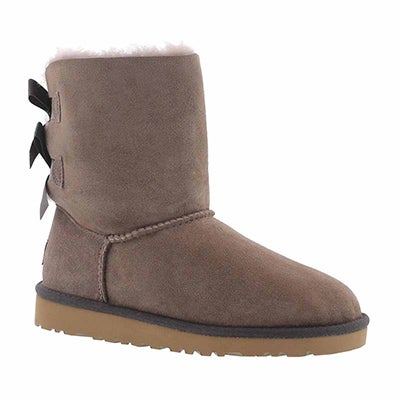 UGG Australia Girls' BAILEY BOW stormy grey sheepskin boots