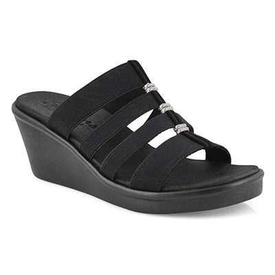 Lds Rumble On blk wedge sandal