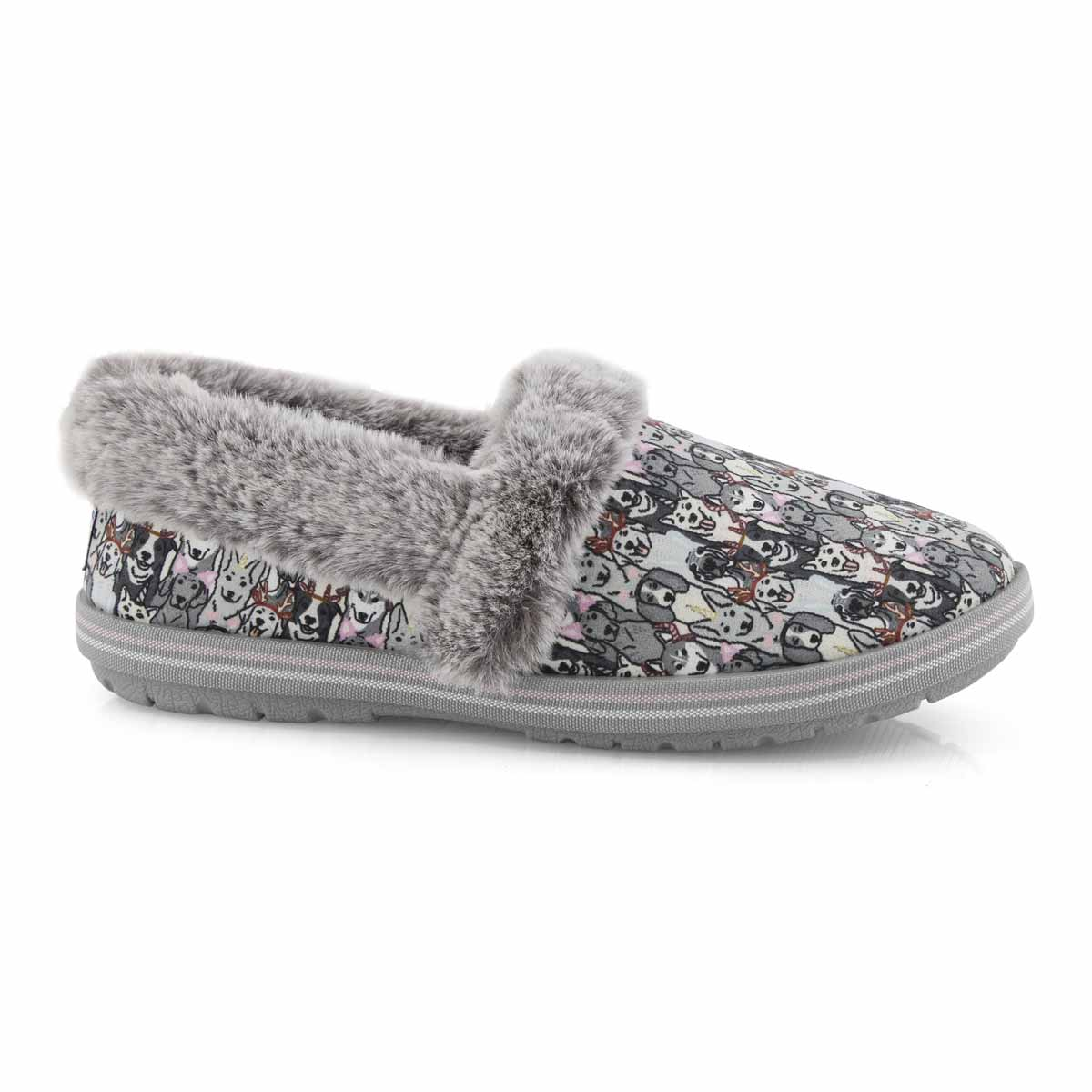 Lds Bobs Too Cozy grey/multi slipper