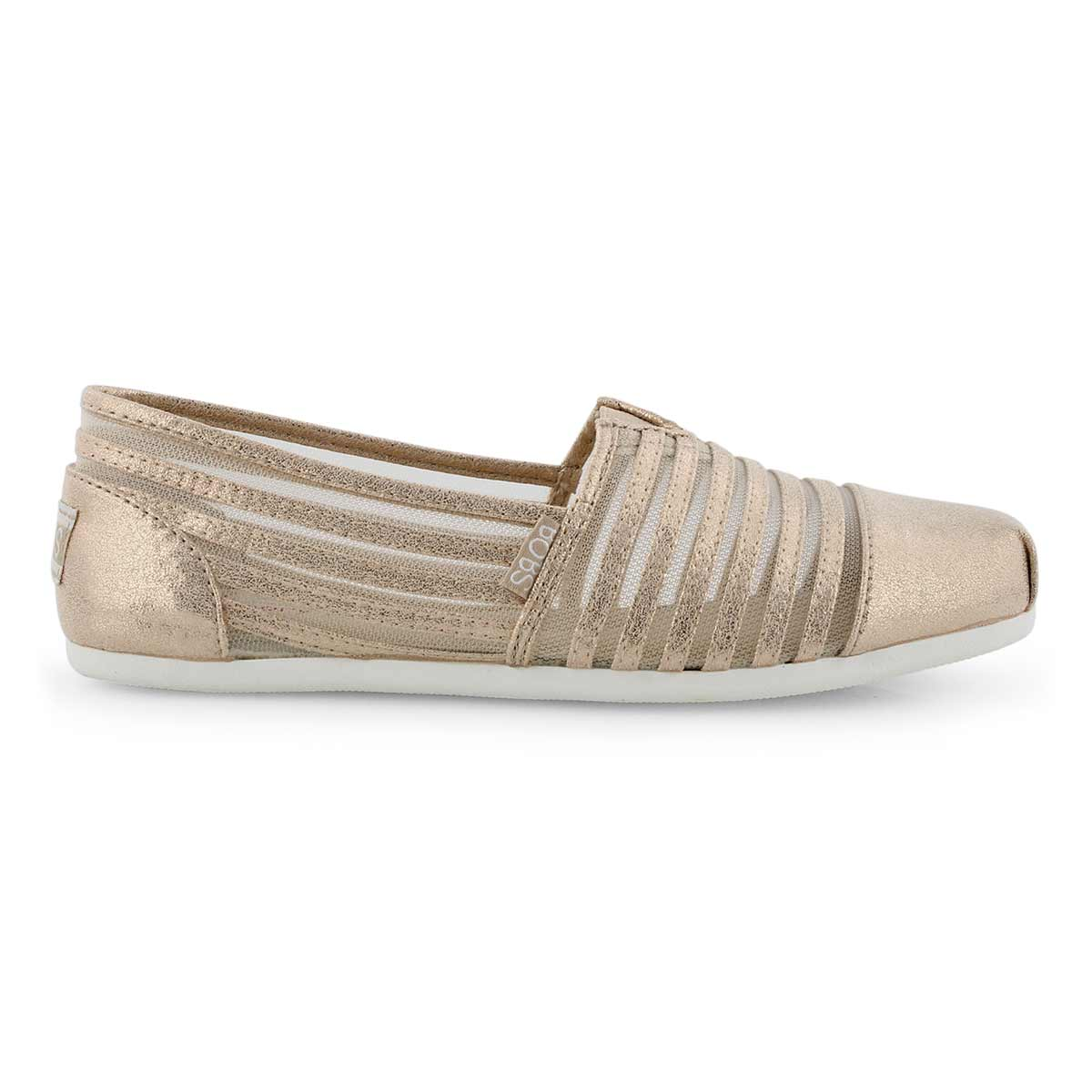Lds Bobs Plush champagne casual slip on